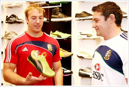 Lion rugby stars Stephen Ferries and David Wallace shop at PUMA store low res