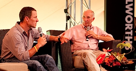 Discovery Lance for Life Day 3_Lance Armstrong and Phil Liggett_1_Credit Greg Beadle.jpg