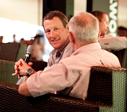 Discovery Lance for Life Day 3_Lance Armstrong and Phil Liggett_2_Credit Greg Beadle.jpg