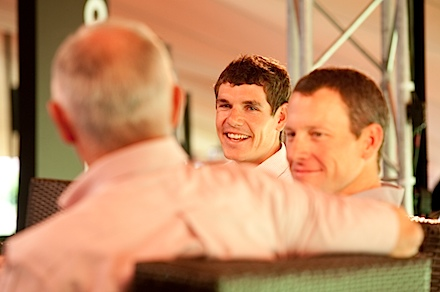 Discovery Lance for Life Day 3_Phil Liggett, Lance Armstrong and Daryl Impey_Credit Greg Beadle.jpg