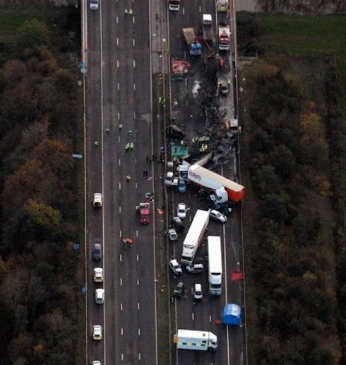 Overhead shot showing the full extent of the accident.
