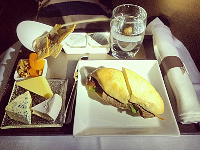 cheese-platter-and-steak-sandwich-etihad-business-class
