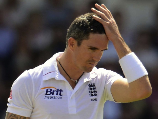 England's Pietersen holds his head during his innings of 149 during the second cricket test match against South Africa at Headingley cricket ground in Leeds