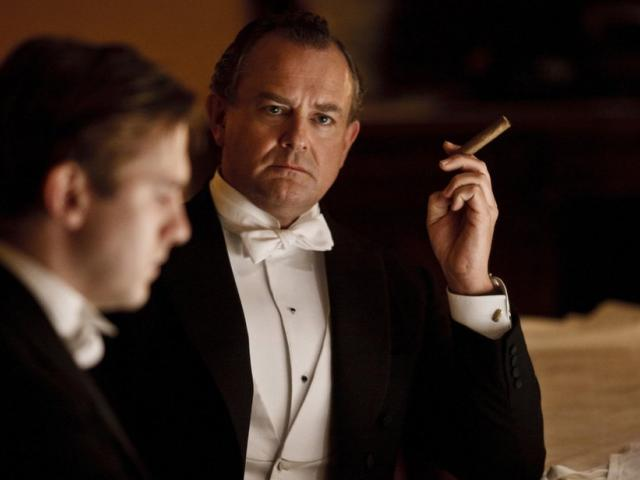 Hugh Bonneville smoking a cigarette (or weed)