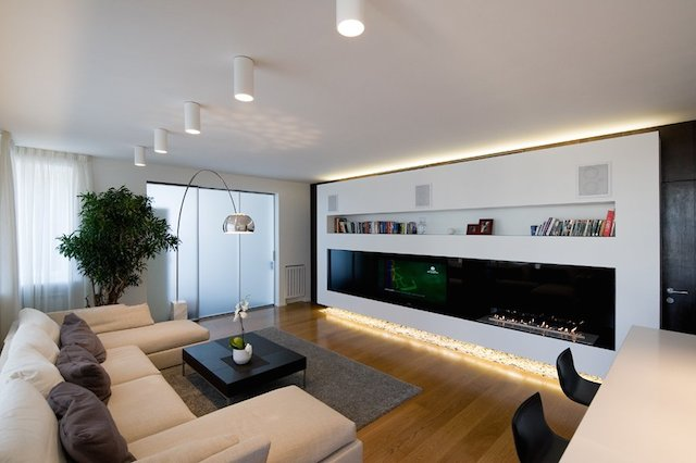 Beauteous contemporary minimalist apartment living room interior ...