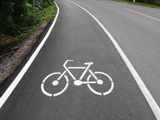 Bike lane; Shutterstock ID 85467955; PO: aol; Job: production; Client: drone
