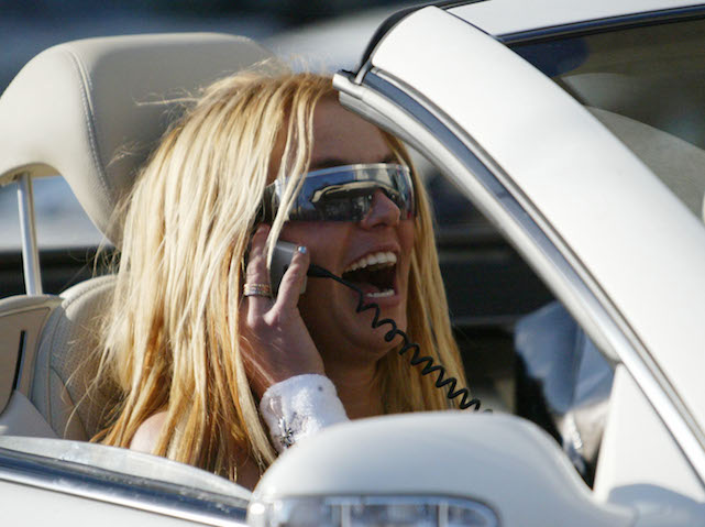 HOLLYWOOD, CA - FEBRUARY 27:    Musician Britney Spears and friend drive through In-N-Out Burger on February 27, 2003 in Hollywood, California. (Photo by Mel Bouzad/Getty Images)