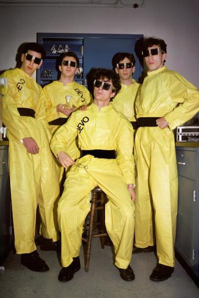 Devo photographed at Dr Stotsky's chemistry lab at New York University in New York on January 2, 1979. (Photo by Ebet Roberts/Redferns)