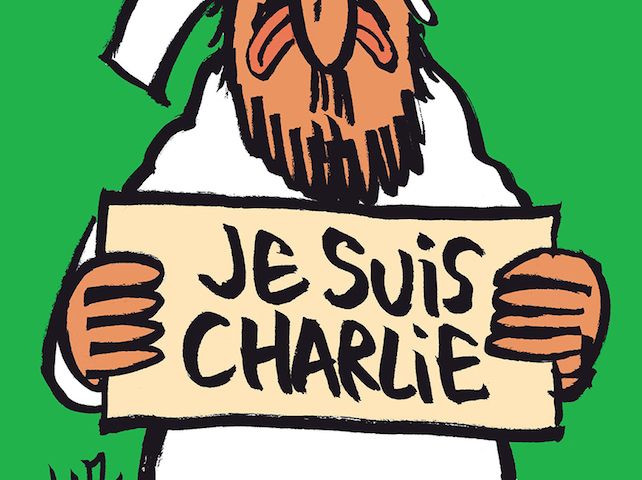 """A handout document released on January 12, 2015 in Paris by French newspaper Charlie Hebdo shows the frontpage of the upcoming """"survivors"""" edition of the French satirical weekly with a cartoon of the Prophet Mohammed holding up a """"Je suis Charlie"""" ('I am Charlie') sign under the words: """"Tout est pardonne"""" ('All is forgiven'). The frontpage was released to media ahead of the newspaper's publication on January 14, 2015, its first issue since an attack on the weekly's Paris offices last week left 12 people dead, including several cartoonists. It also shows Mohammed with a tear in his eye.  AFP PHOTO  / HO  /CHARLIE HEBDO  = RESTRICTED TO EDITORIAL USE -- MANDATORY CREDIT """"AFP PHOTO / HO/CHARLIE HEBDO- NO MARKETING - NO ADVERTISING CAMPAIGNS -- DISTRIBUTED AS A SERVICE TO CLIENTSHO/AFP/Getty Images"""