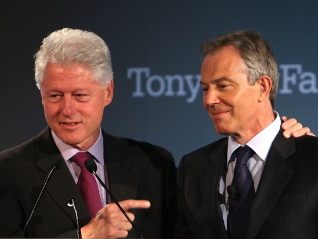 NEW YORK - MAY 30:  Former President Bill Clinton (L) addresses the audience while putting his arm around Former British Prime Minister Tony Blair  during an event launching the Tony Blair Faith Foundation May 30, 2008 in New York.  The charitable foundation aims to bridge understanding between faiths, and actively combat poverty and disease.  (Photo by Spencer Platt/Getty Images)