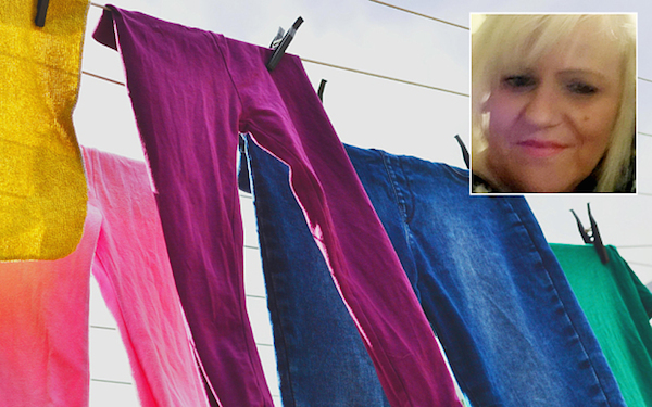 F2AAPC Colourful Laundry on the line on a sunny day