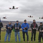 Drone pilots flying their racing machines in Cragg Vale, West Yorkshire, in attempt on a new world record for most drones airborne at one time for International Drone Day, being staged to promote the positive uses of drones. ... International Drone Day ... 14-03-2015 ... Cragg Vale ... UK ... Photo credit should read: Bob Collier/PA Wire. Unique Reference No. 22494769 ... Picture date: Saturday March 14, 2015. Photo credit should read: Bob Collier/PA Wire