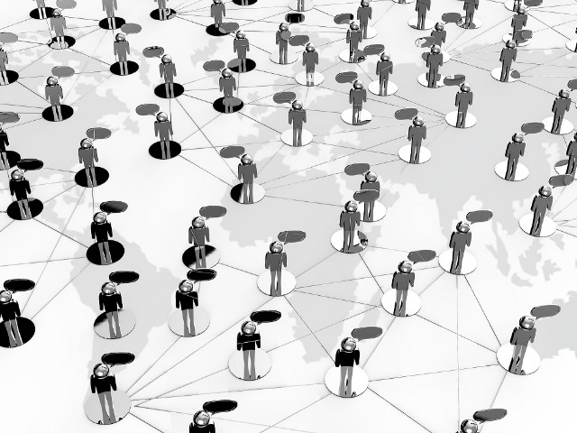 Social Network concept on earth background