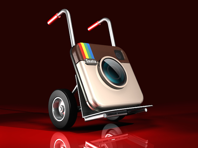3d illustration of a large Instagram logo sitting on a silver hand truck over a dark red reflective surface