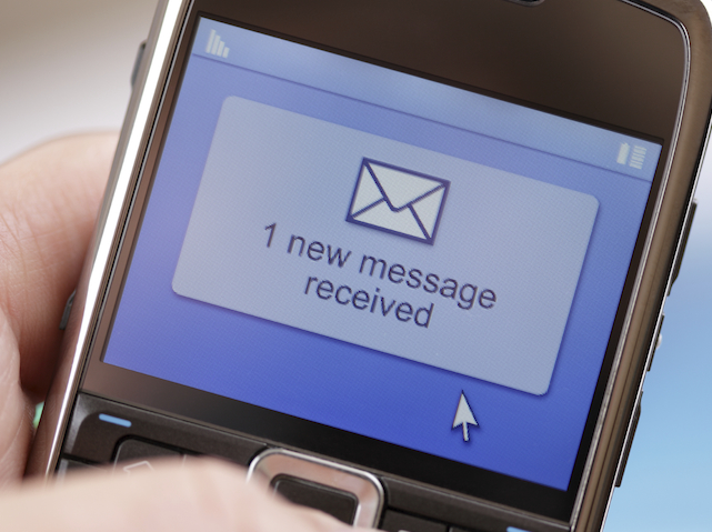 Text message received on a mobile phone