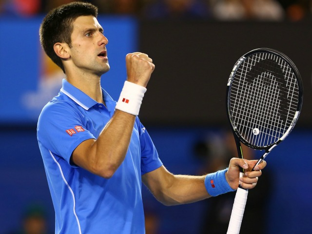 MELBOURNE, AUSTRALIA - FEBRUARY 01:  Novak Djokovic of Serbia celebrates a point in his men's final match against Andy Murray of Great Britain during day 14 of the 2015 Australian Open at Melbourne Park on February 1, 2015 in Melbourne, Australia.  (Photo by Clive Brunskill/Getty Images)