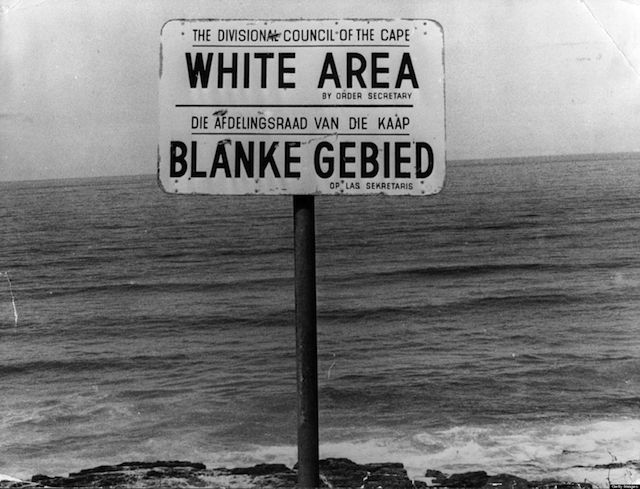 An apartheid notice on a beach near Capetown, denoting the area for whites only.   (Photo by Keystone/Getty Images)