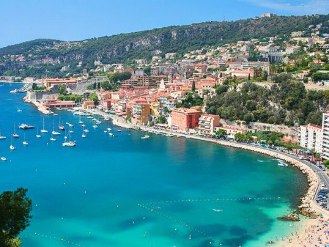 Beautiful bay of Villefranche-sur-mer in the Cote d'Azur in France.