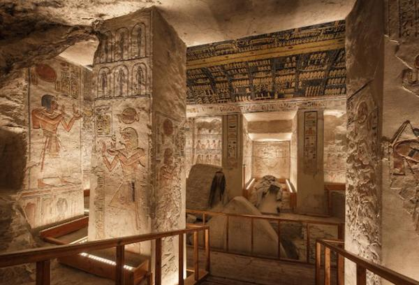 The main chamber with the sarcophagus in the tomb of Ramesses VI