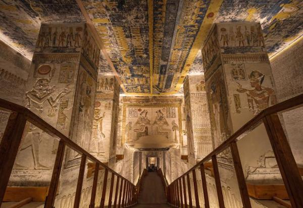 The walkway of the tomb of Ramesses VI towards the main chamber