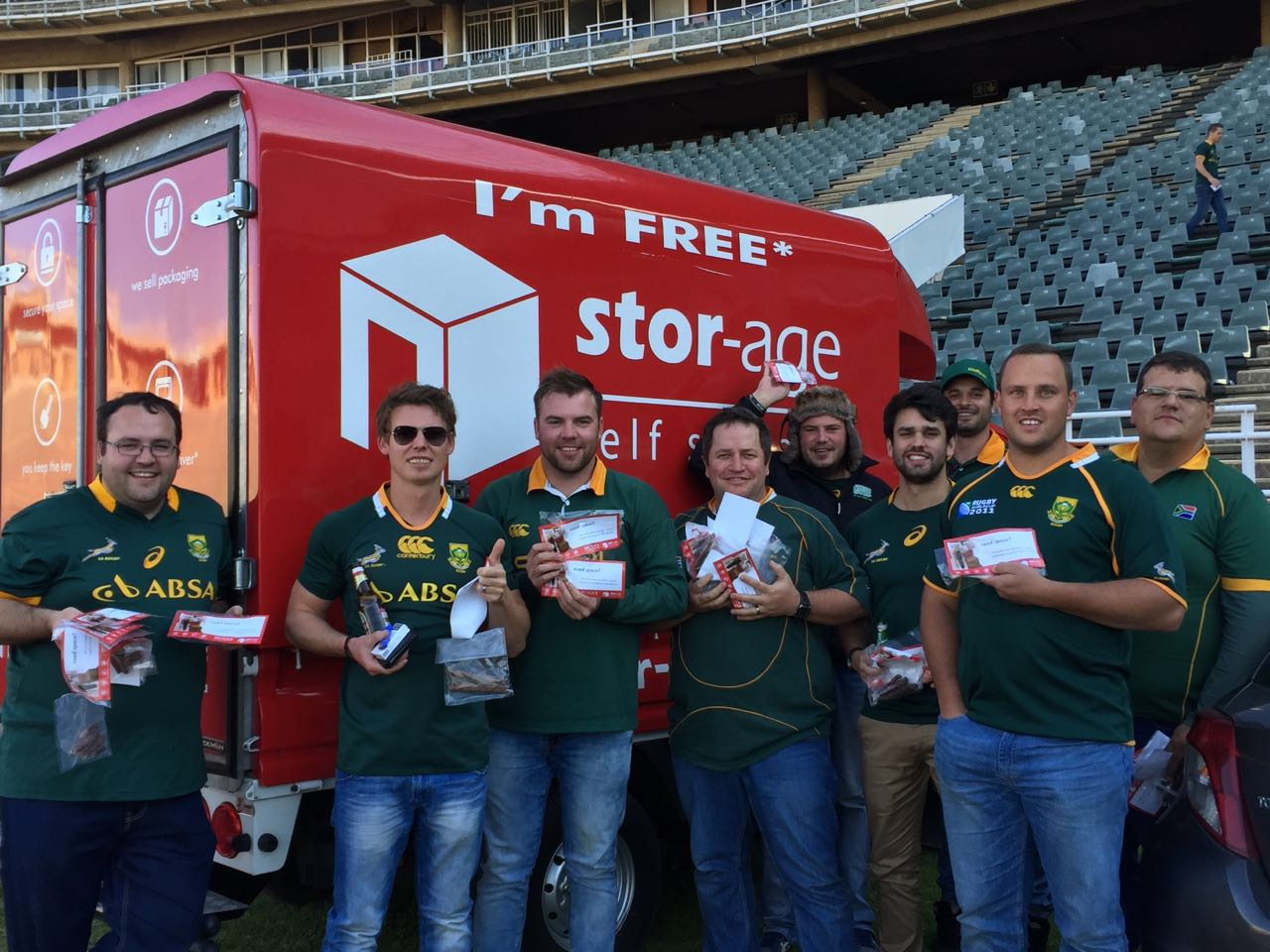 Sprinbok supporters score free biltong at rugby courtesy of Stor-Age self Storage