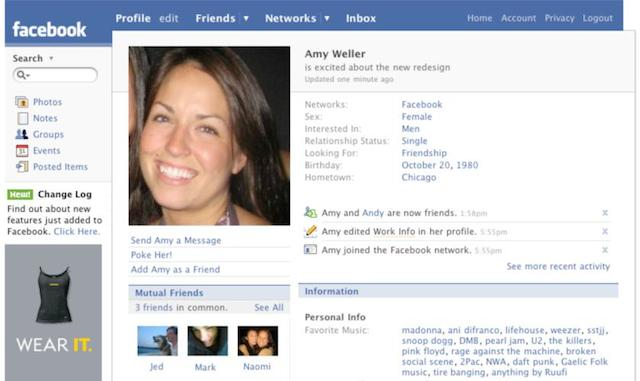 """Facebook Profile Page, 2007. Every profile update still had to begin with """"is,"""" forcing you to talk about yourself in the third person."""