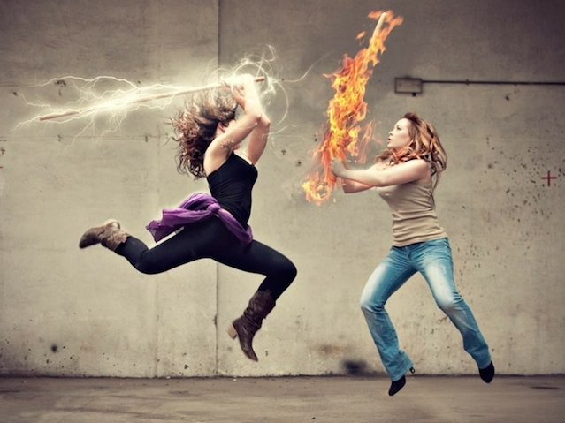 women jeans fire fight battles lightning girls with swords swords photomanipulations 1920x1200 wa_www.wall321.com_45