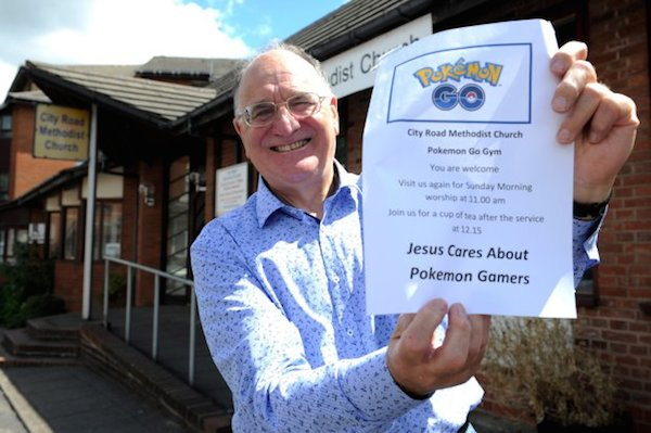 PIC BY KORAY EROL/CATERS NEWS (Pictured: Church warden David Hallam holding up his Pokemon Go poster) - A congregation have been left baffled after their Sunday service was bombarded with Pokemon Go gamers. City Road Methodist Church in Birmingham, West Mids, opened its doors to players after the building was revealed as a gym in the popular game last week. But this Sunday (17 July) players and parishioners came together - thanks to Pokemon. SEE CATERS COPY