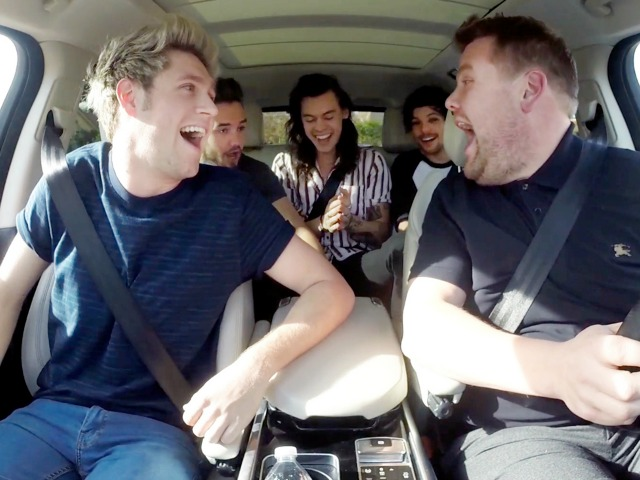 "One Direction joins James Corden for Carpool Karaoke on ""The Late Late Show with James Corden,"" airing Tuesday, December 15th, 2015 (12:37 -- 1:37 AM, ET/PT) on The CBS Television Network.   Photo: CBS ©2015 CBS Broadcasting, Inc. All Rights Reserved"