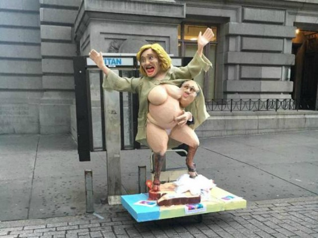Naked Hillary Clinton statue wreaks havoc during morning commute in NYC